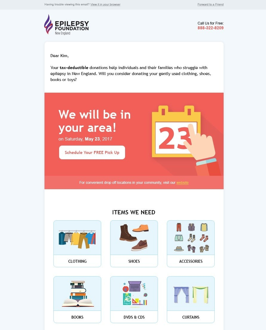 illustrated email newsletter design with calendar graphics and illustrations