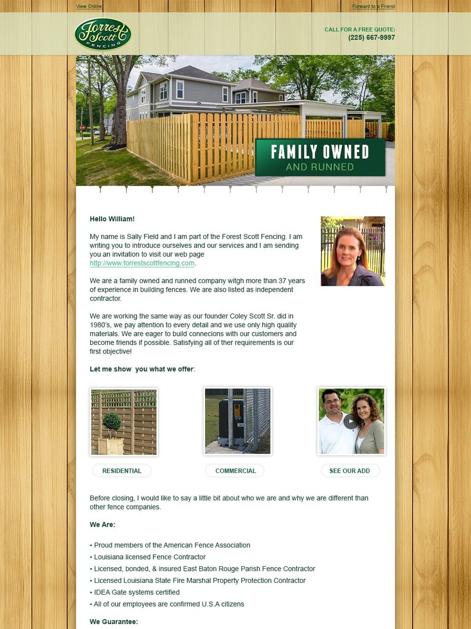 green and wood-toned fencing newsletter