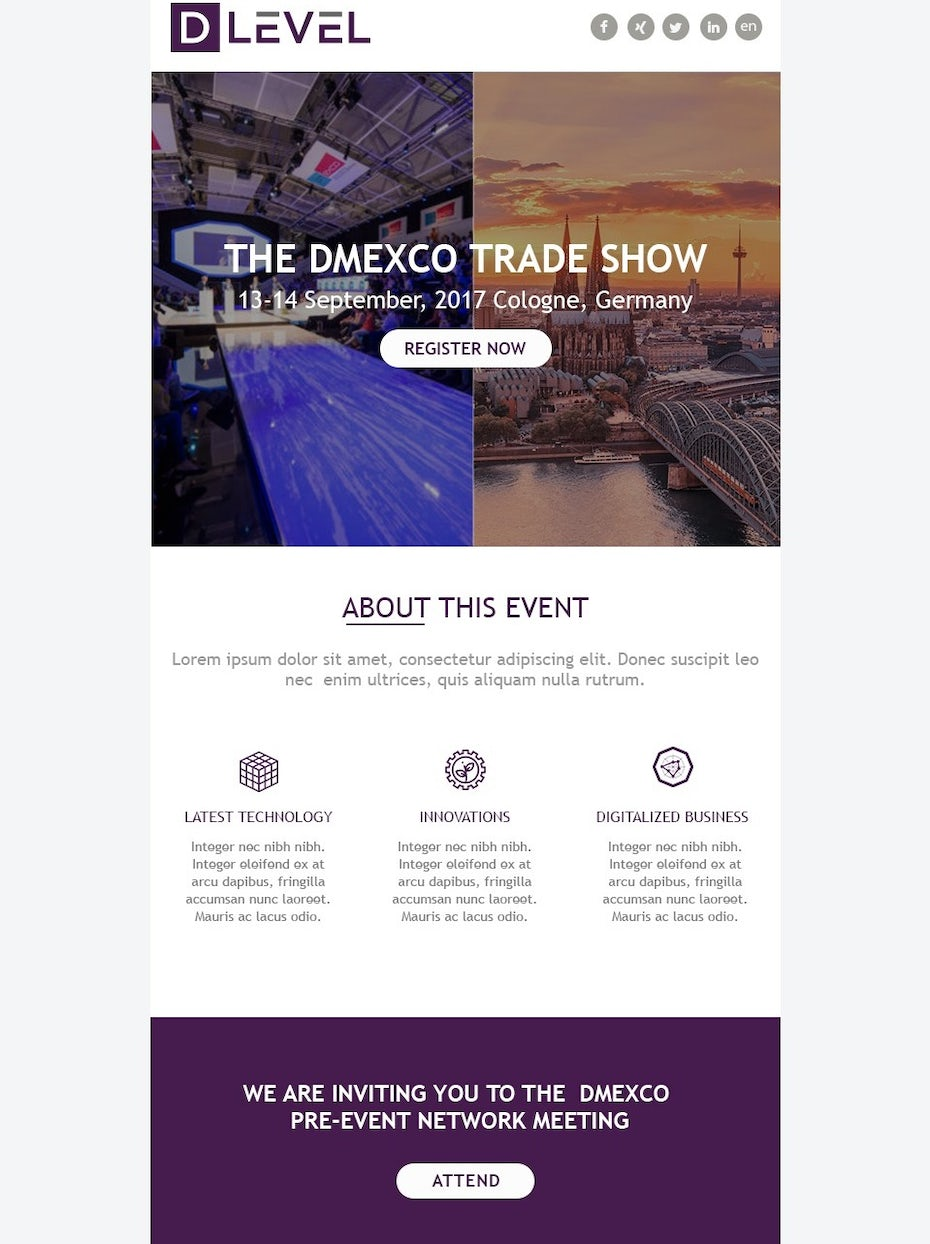 purple, gray and white newsletter about a trade show