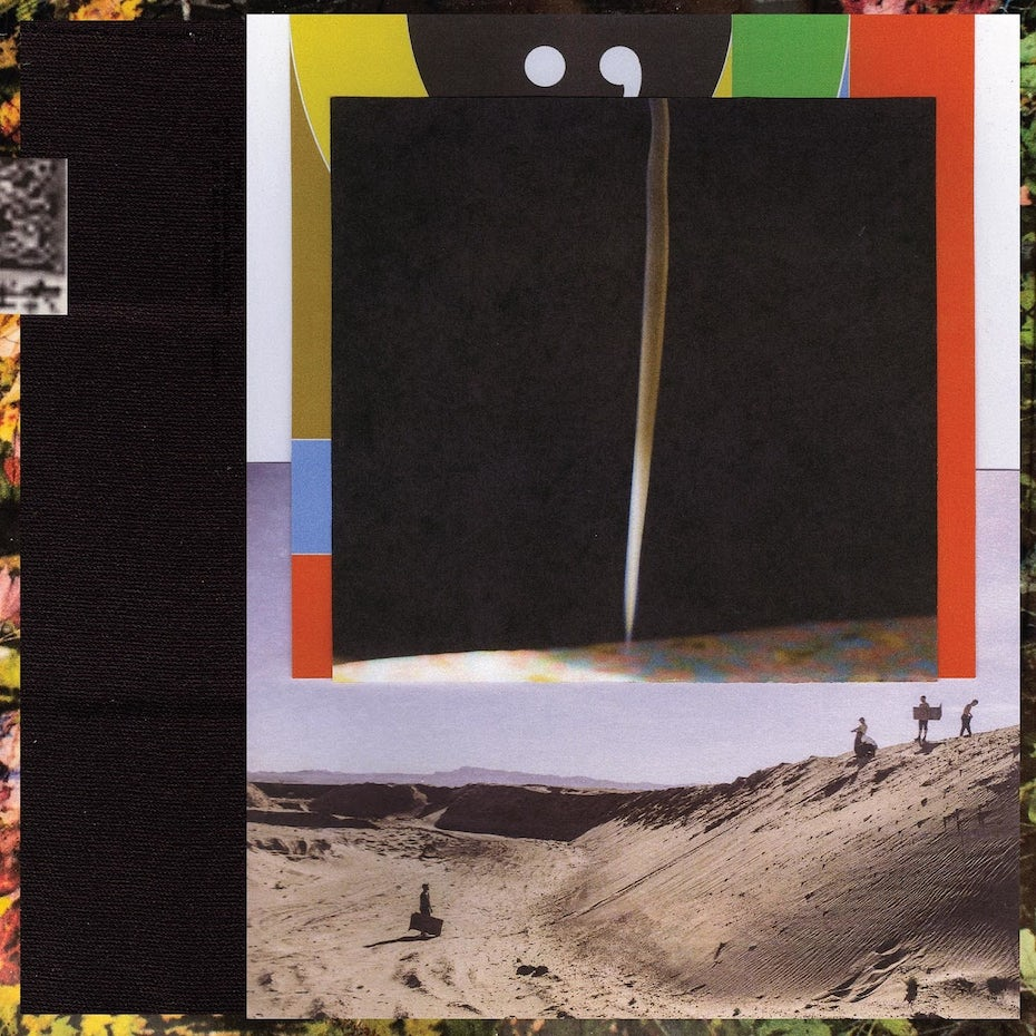 album cover showing a collage design of people standing in the desert beneath an abstract line against a black background