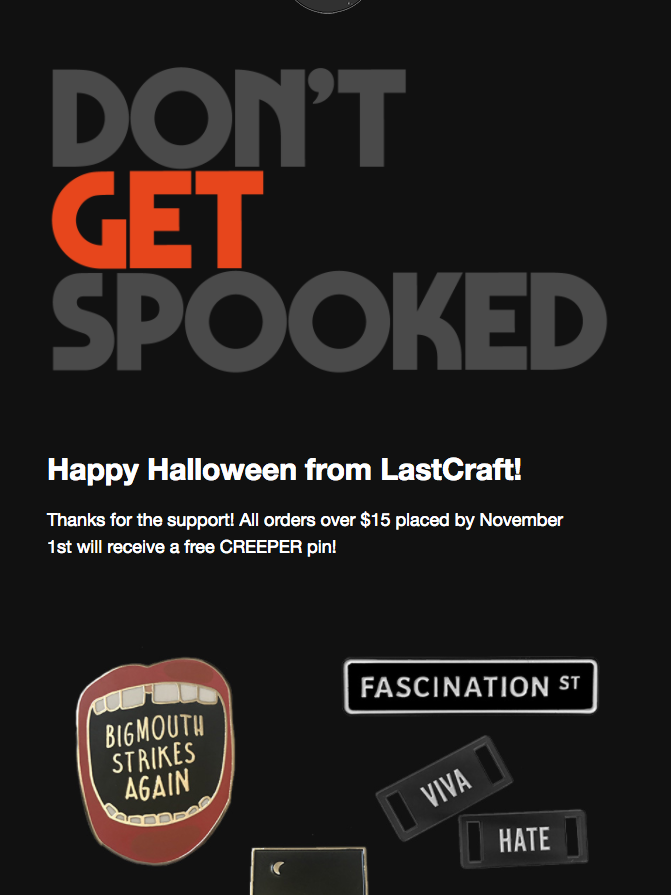 black background Halloween newsletter featuring products
