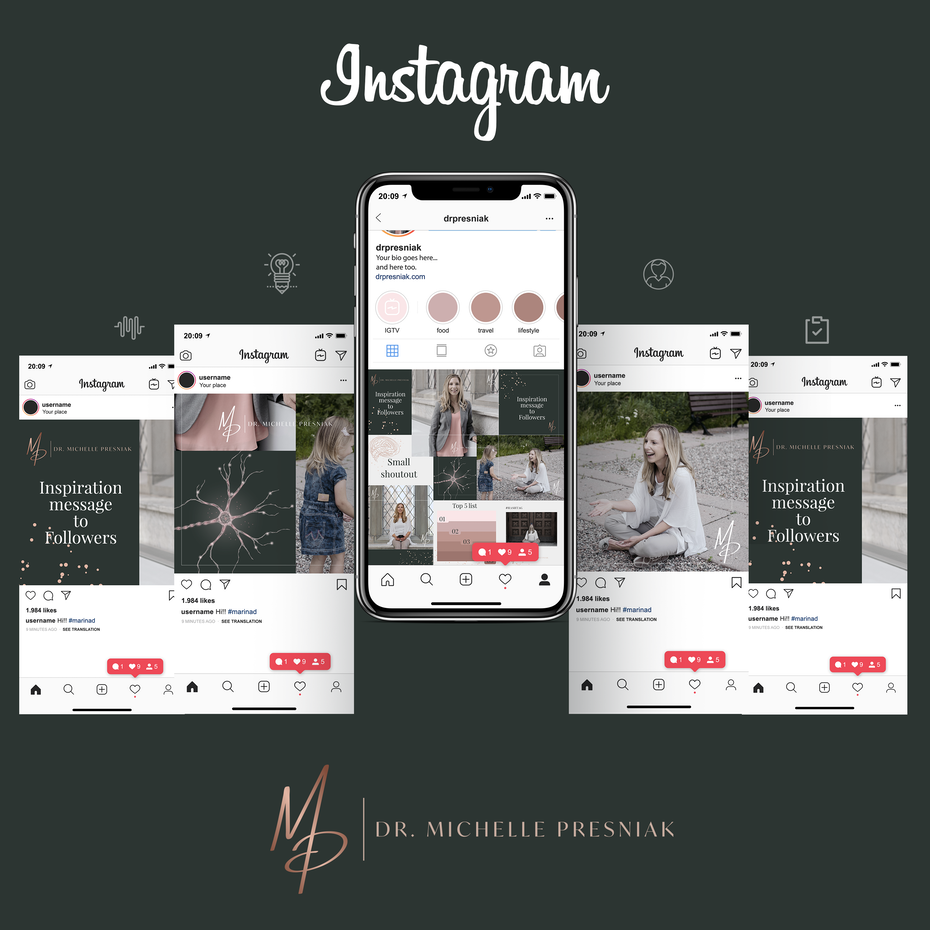 modern instagram design with muted colors