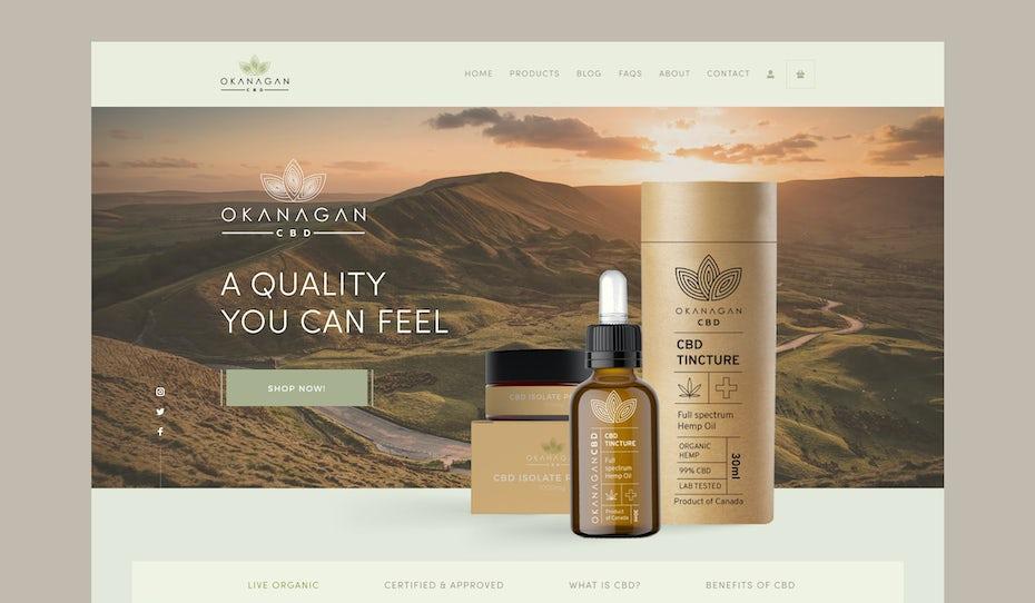 Site web élégant et naturel de produits au CBD