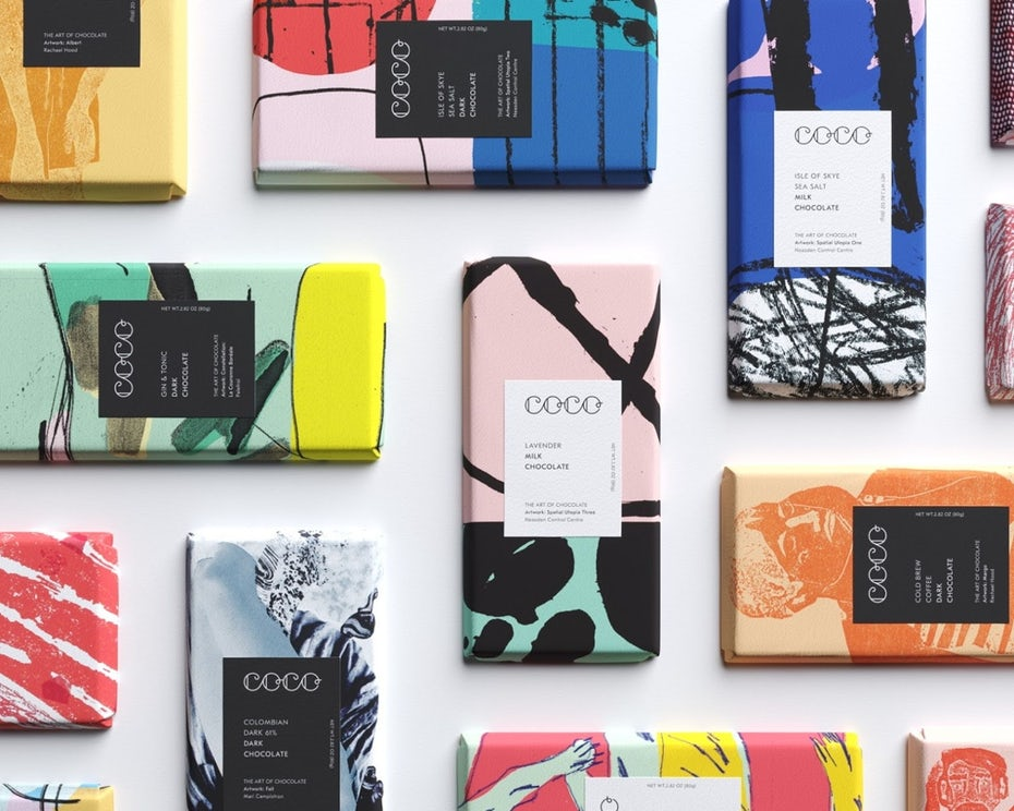 chocolate bar packaging showing multiple unique collage designs