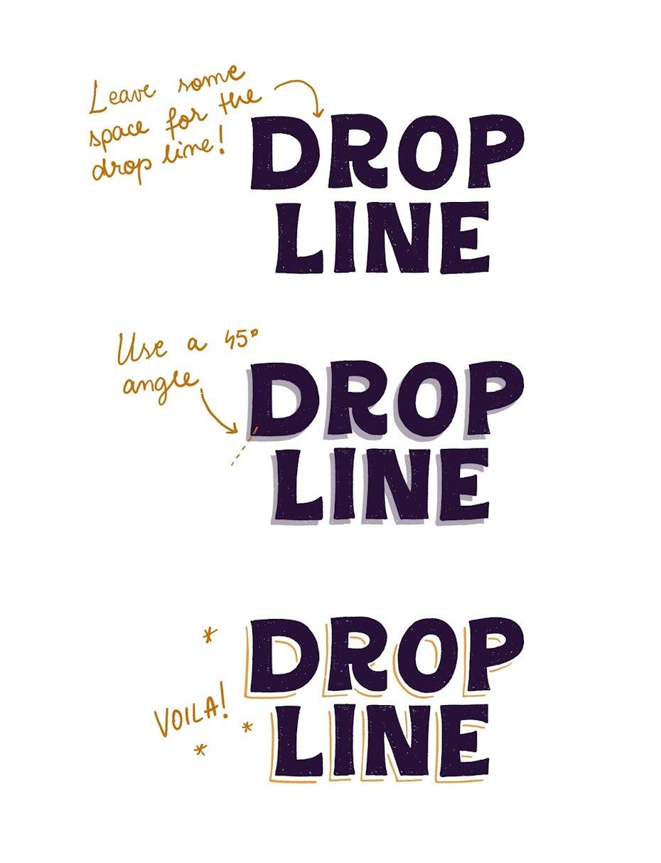 Drop line 3D lettering