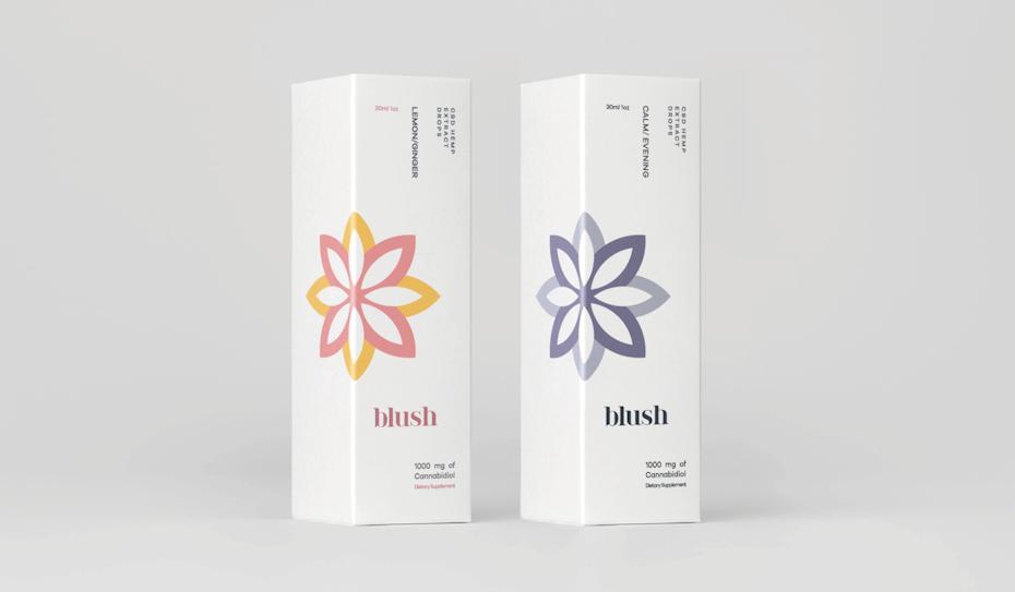 Design de packaging minimal d'une marque de CBD
