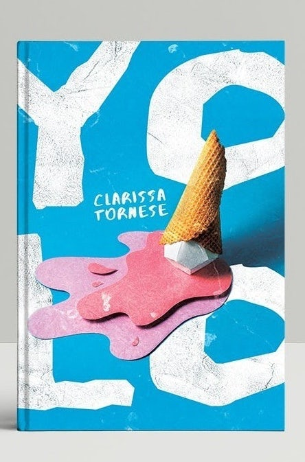 Collage book design showing pink ice cream on the ground against white letters and a blue background
