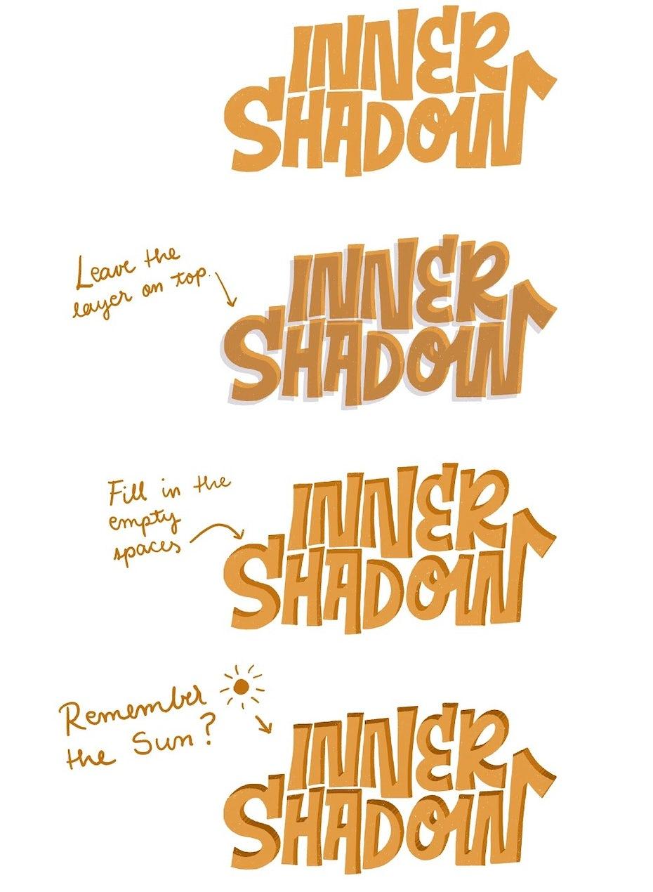 Inner shadow 3D lettering