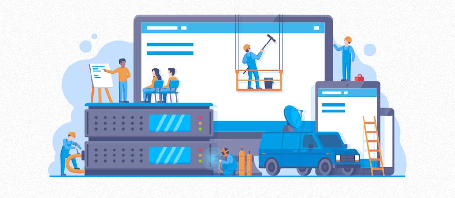 Illustration von Bauarbeitern, die eine Website erstellen