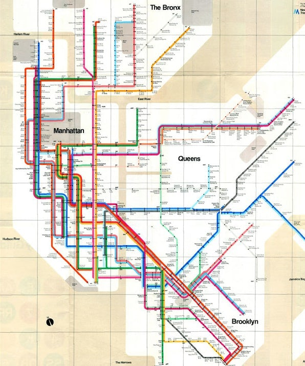 The New York transit map, designed by Massimo Vignelli