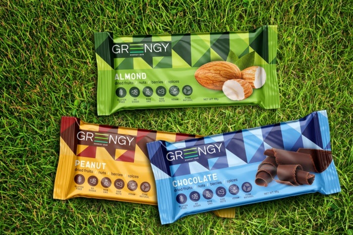 Product packaging for Greengy energy bars