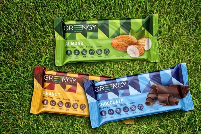 Produktverpackung für Greengy energieriegel