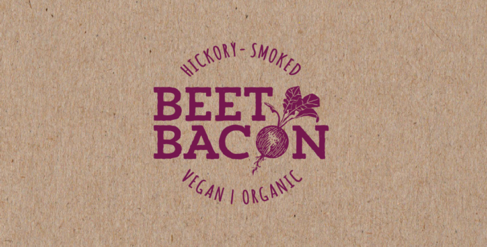 brown and purple logo for beet bacon