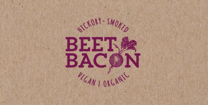Logo marron et violet pour Beet Bacon