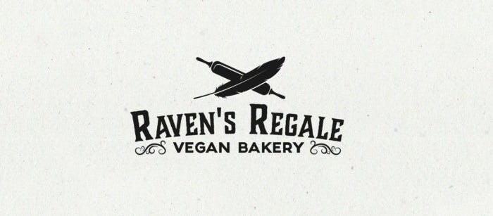 Black logo for Raven's Regale vegan bakery
