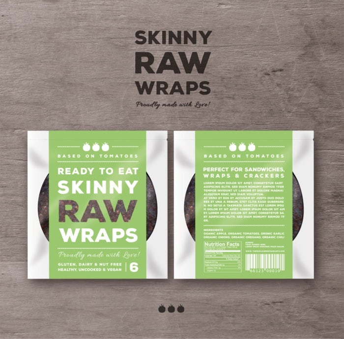 Green, white and brown packaging for Skinny Raw Wraps