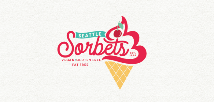 Red cursive ice cream logo design for Seattle Sorbets