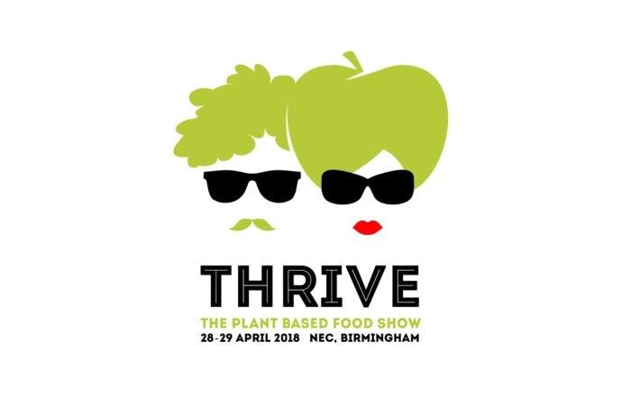 logo für vegan food show: illustration von mann und frau mit grünem Haar und sonnenbrille