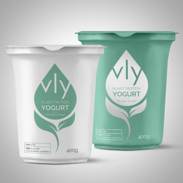 Mint green and white packaging design for vly plant protein yogurt