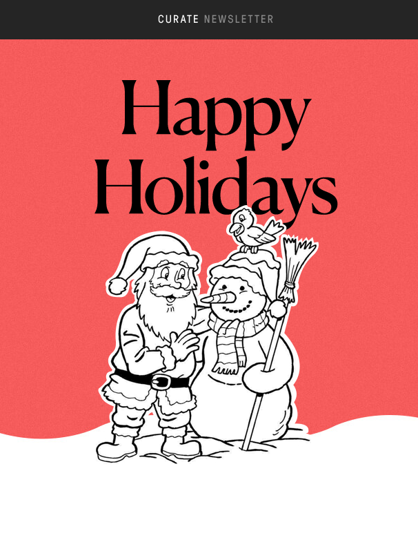 white, black and red holiday newsletter featuring Santa and a snowman