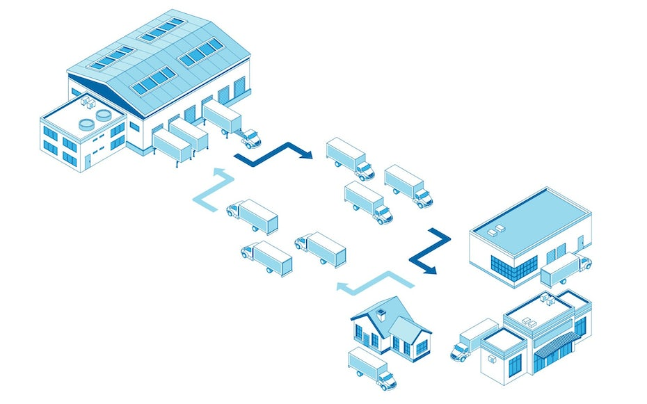 Isometric illustration of logistics process