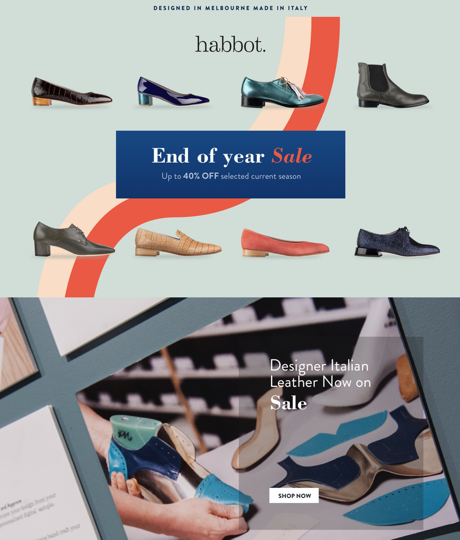 email design for shoe company sale