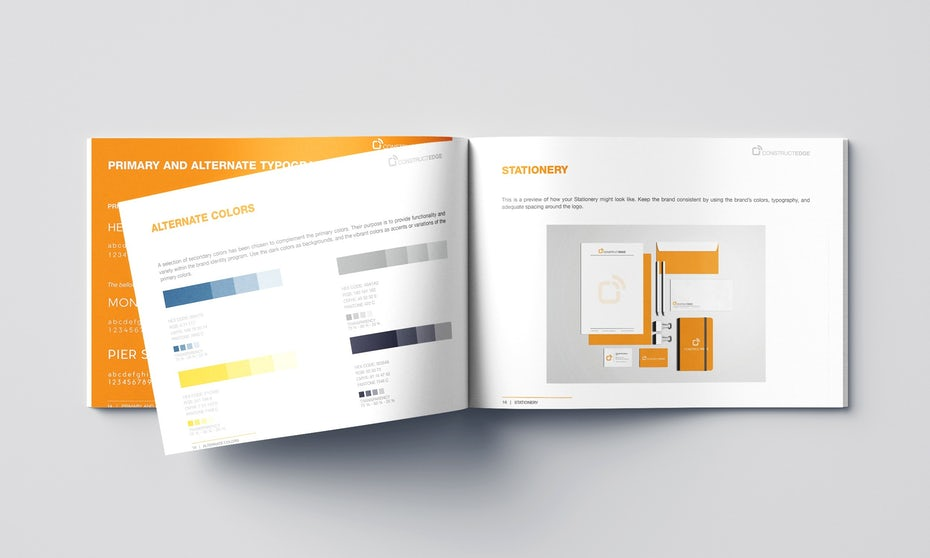 Brand identity guide with an open page