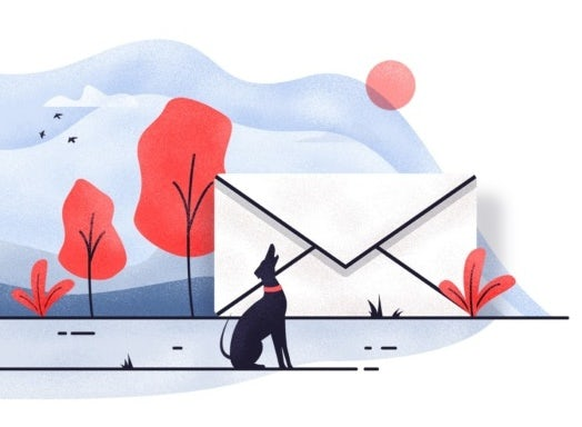 illustration of a big envelope in landscape with dog