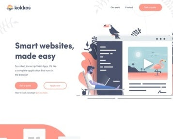 Flat, colorful illustrated web page design