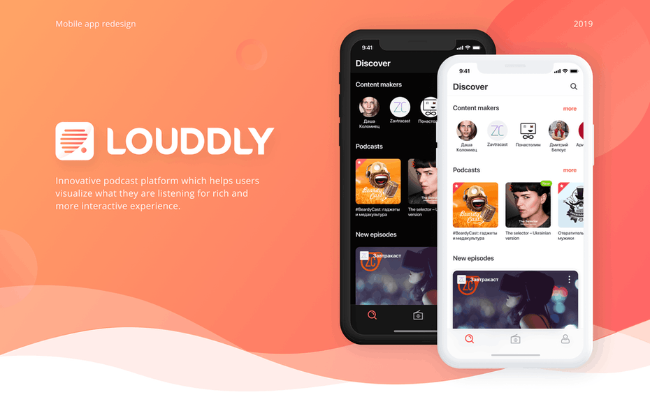 UX prototype of a podcast app