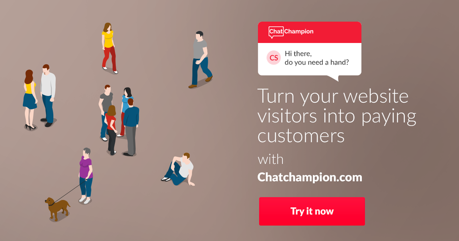 banner ad with illustration of people chatting with each other