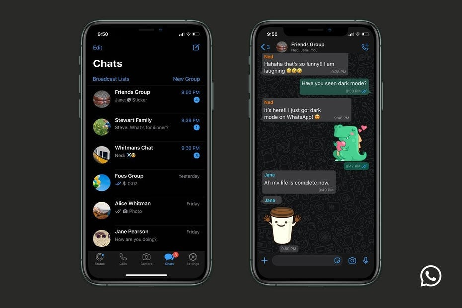 WhatsApp on desktop dark mode app design