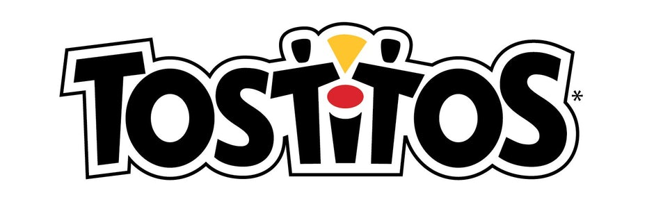 Tostitos logo showing two people sharing a chip in the middle