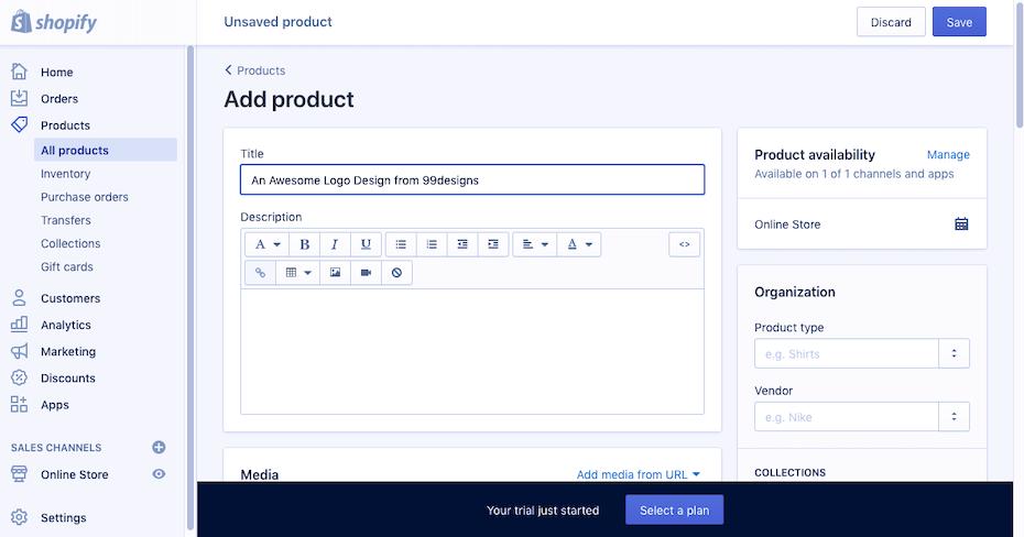 scrennshot shopify website builder