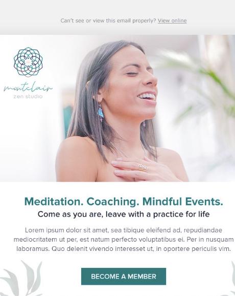 email design for Montclair Zen Studio