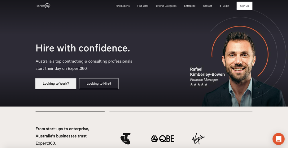 Page d'accueil d'Expert360