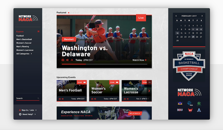 Blue and red UX interface design of a sports app