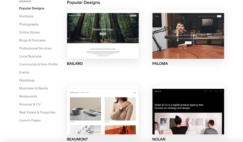 Squarespace's website templates