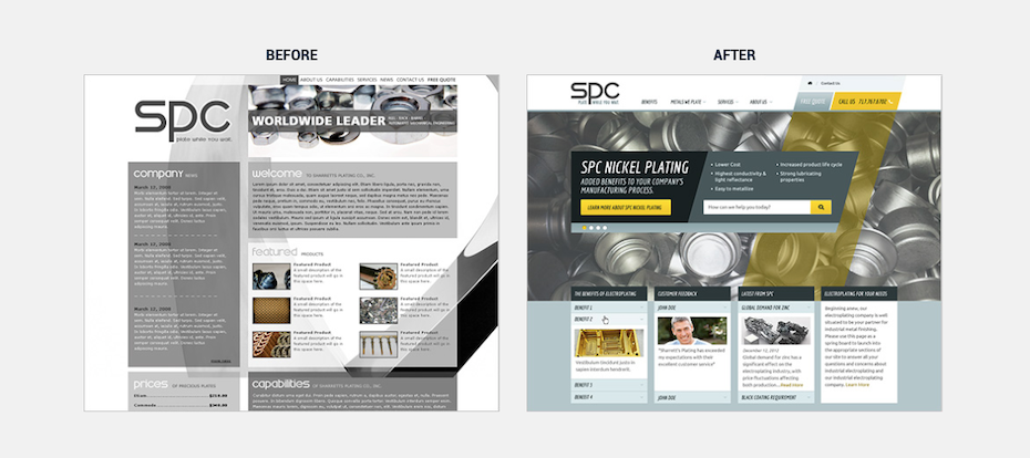 A before and after image of a website redesign