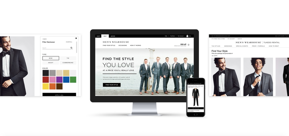 Men's Wearhouse retail web page and mobile design