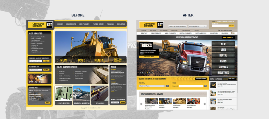 A before and after image of a farmer's equipment website redesign