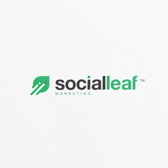 Green leaf tech-themed digital marketing logo
