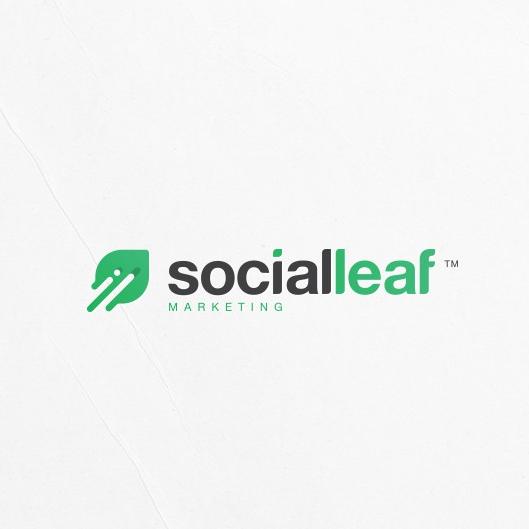 Green leaf tech-themed digital marketing logo