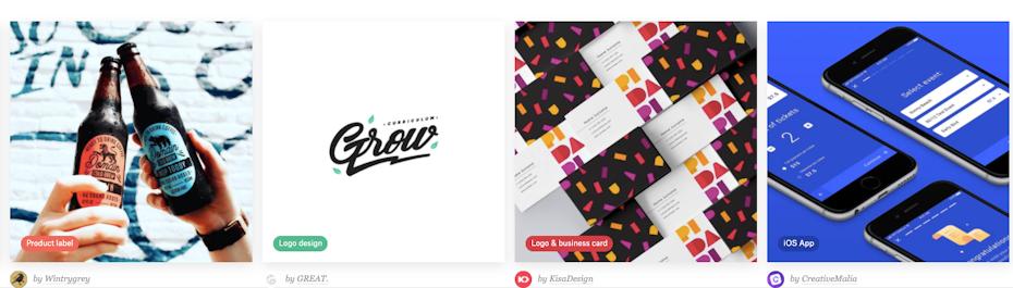 screenshot of 99designs examples on homepage