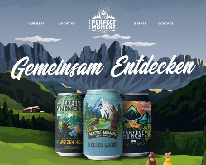 Illustrated camping web page design for a brewery