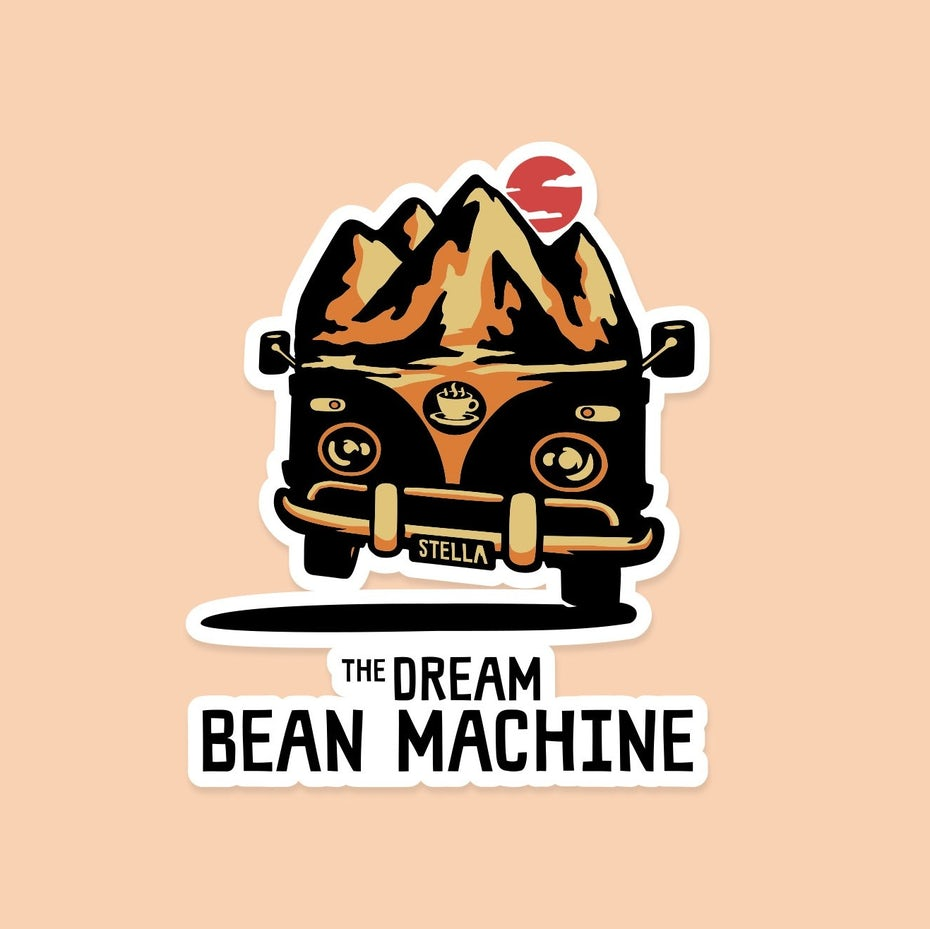 merchandise branding with sticker depicting a VW bus driving in front of a mountain