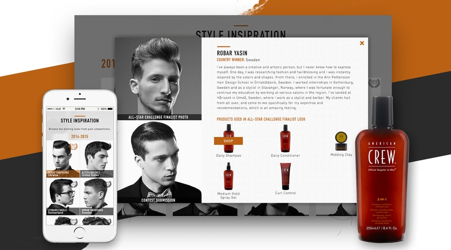 American Crew web page design