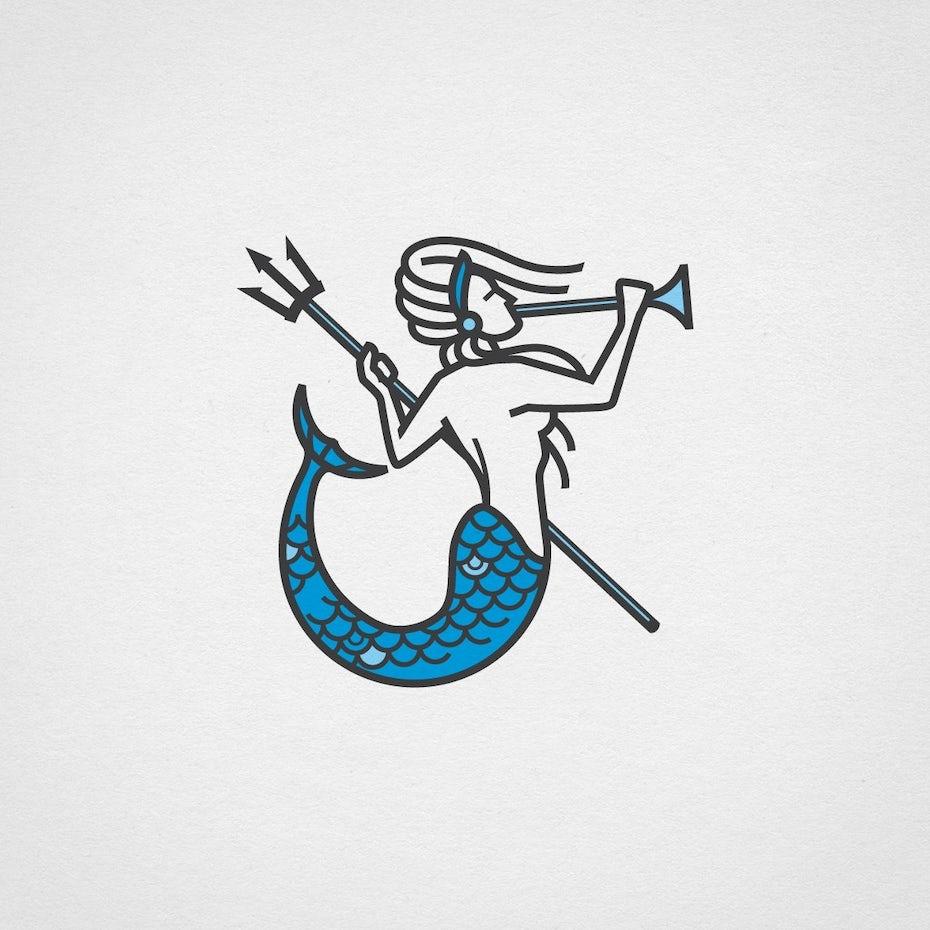Blue digital marketing logo with monoline mermaid illustration