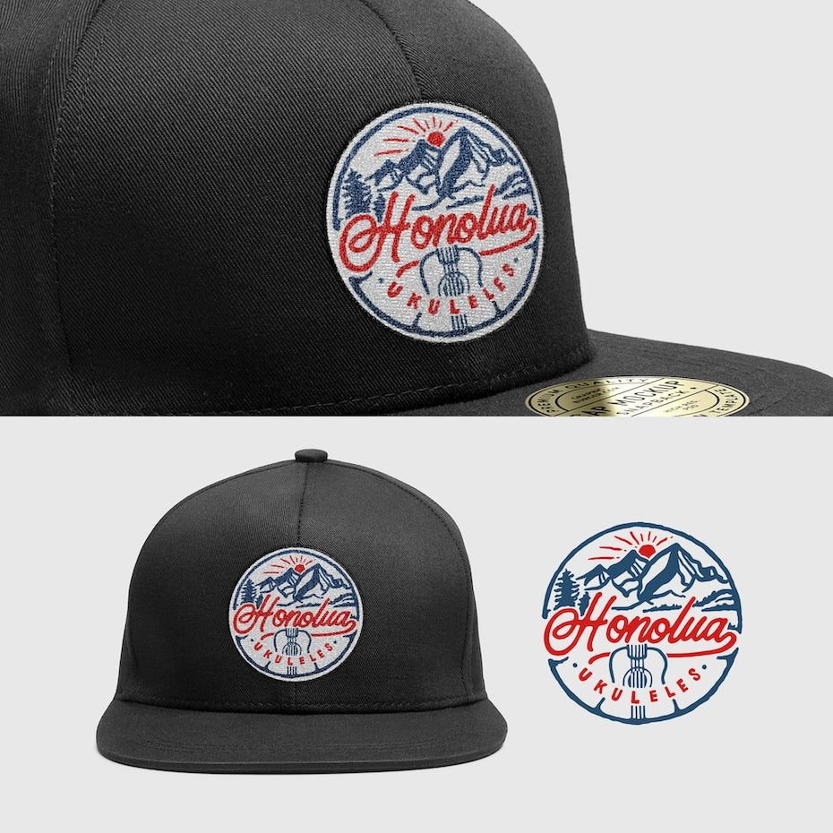 merchandise branding with baseball cap with a hawaiian-inspired ukelele logo patch