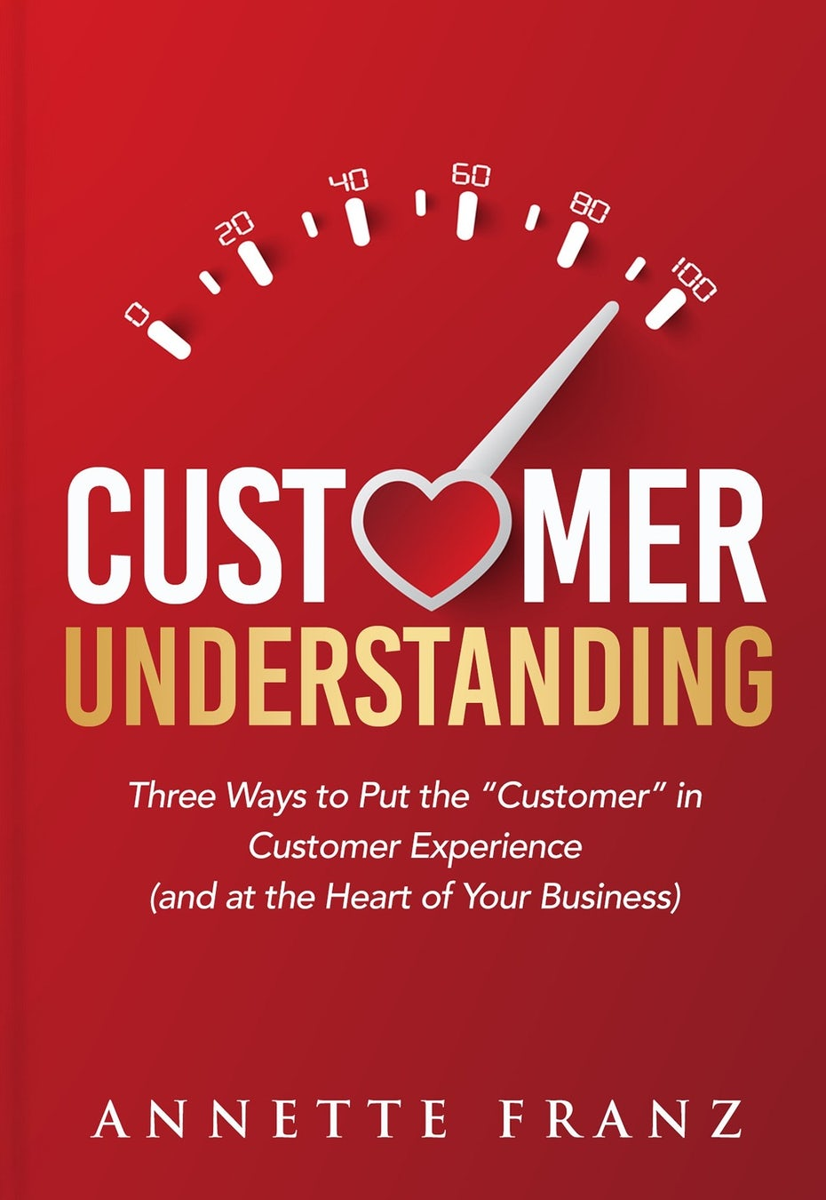 book cover design on customer understanding with scale and heart